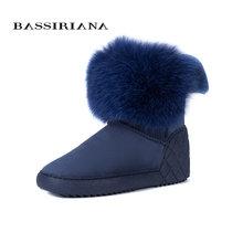BASSIRIANA Neue 2017 echtem schaffell wildleder warme winter knöchel schnee stiefel schuhe frau erhöhen einlegesohle fur runde kappe 36- 40 größe(China)