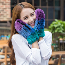 2016 fur lovers gloves Rex wool knit gloves female rabbit fur warm cold wind and snow