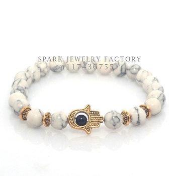 Бирюзовый лава оникс из природного камня бусины браслет хамса рук браслет