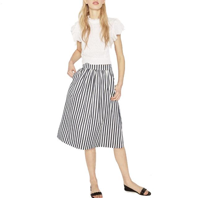 Женщины урожай полосатый империя юбки карманы дизайн дамы лето ретро причинно колен ...