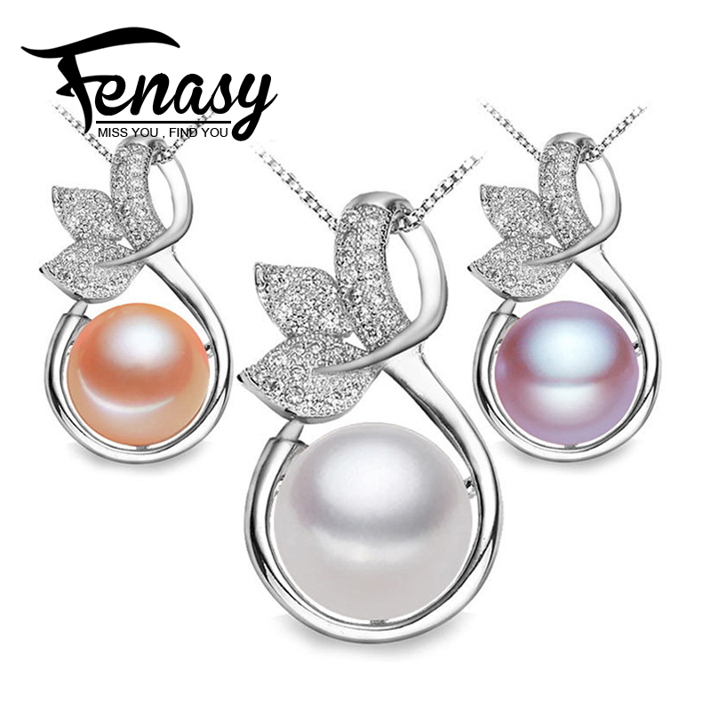 FENASY Natural pearl Promotion Fashion 925 sterling silver Elegant Women Jewelry Pearl Pendant Freshwater Pearl Jewelry Necklace(China (Mainland))