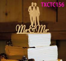 Buy Wooden Men Couple Wedding Cake Topper Gay Wedding Cake Topper Wedding Cake Decoration Supplies Rustic Mr&Mr Wedding Cake Topper for $6.64 in AliExpress store