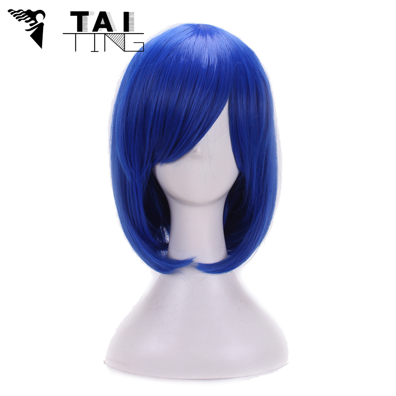Perruque Bob Short Straight Blue Wig for Women Dance Party Peluca Peruca Sexy Synthetic Hair Wigs With bangs Cheap Cosplay Wig(China (Mainland))
