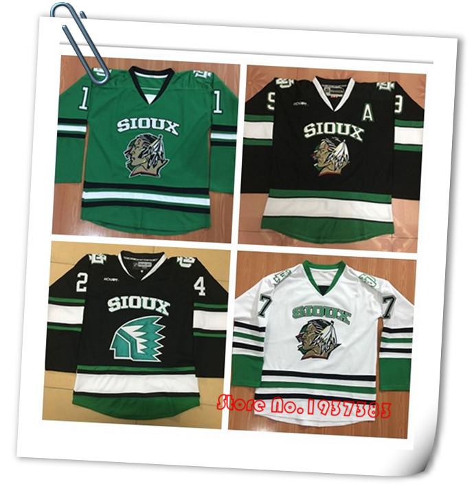 New Design 2016 North Dakota Hockey Jerseys, Sioux Battle Hockey Green/White/Black Jerseys, Custom Any Name and Number Jerseys(China (Mainland))