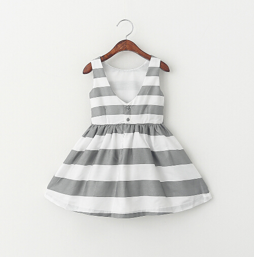 2016 New Baby Girl Stripe Dress European Style Cotton Bow V-Neck Princess Party Dresses Elegant Baby Girl Clothes 2-7Y CH(China (Mainland))