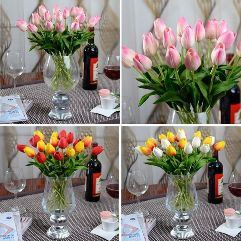 10pcs Beautiful real-like Tulip Artificial Flower Latex Real Touch Bridal Wedding Bouquet Home Decor Levert Dropship mar6