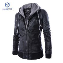 Hot Selling Mens Jackets and Coats Motorcycle Black PU Men Fashion Leather Jacket veste en cuir homme Mens Hooded Leather Jacket(China (Mainland))