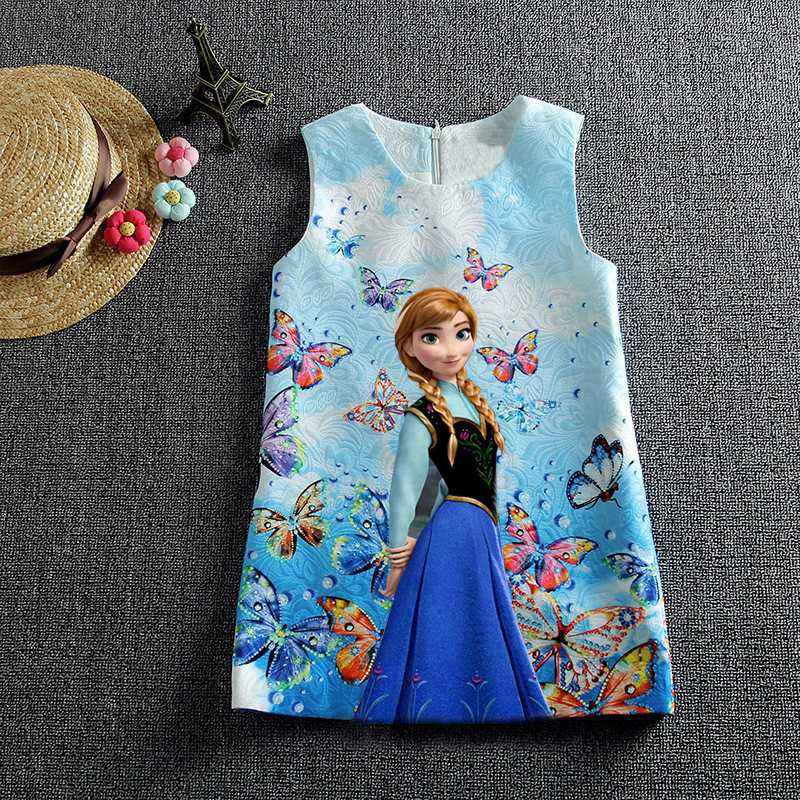 New 2016 Summer Anna Dresses For Girls Princess Elsa Dress Butterfly Party Costume Snow Queen Kids Clothes Vestidos(China (Mainland))