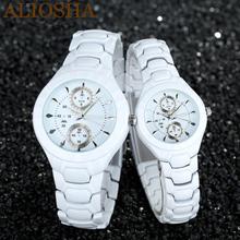 Aliosha marca Sinobi correa de acero inoxidable para él y ella relojes reloj de pulsera moda japonés movimiento de cuarzo de los amantes reloj