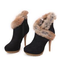 Botas de Meotina botas de tobillo de mujer botas de invierno con plataforma tacones altos piel de conejo señoras Sexy Delgado talón hecho a mano Zapatos negro verde(China)