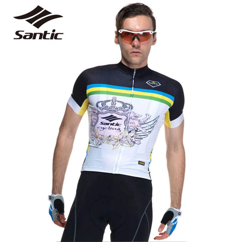 Santic Short Sleeve Cycling Jersey Men Bicycle Clothing Sportswear Bike Shirts Tops Ropa Bicicleta Roupa Ciclismo Maillot S-XXXL