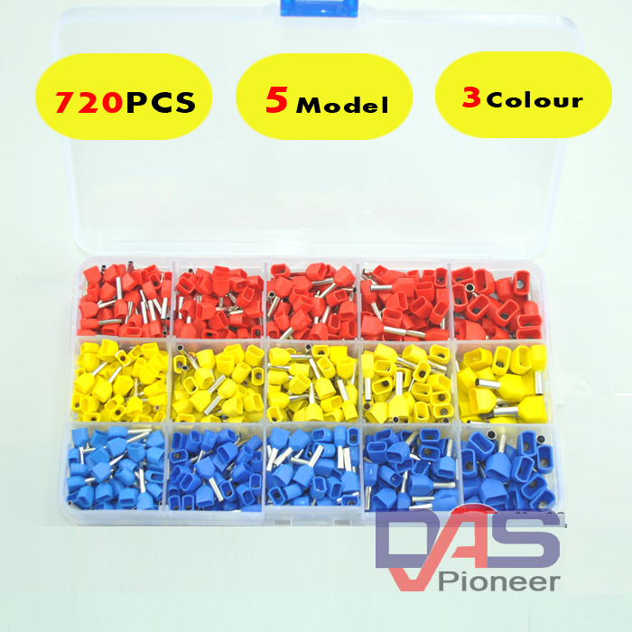720pcs a lot twins Dual Bootlace Ferrule teminator Kit Electrical Crimp Dual entry cord end wire terminal connector(China (Mainland))