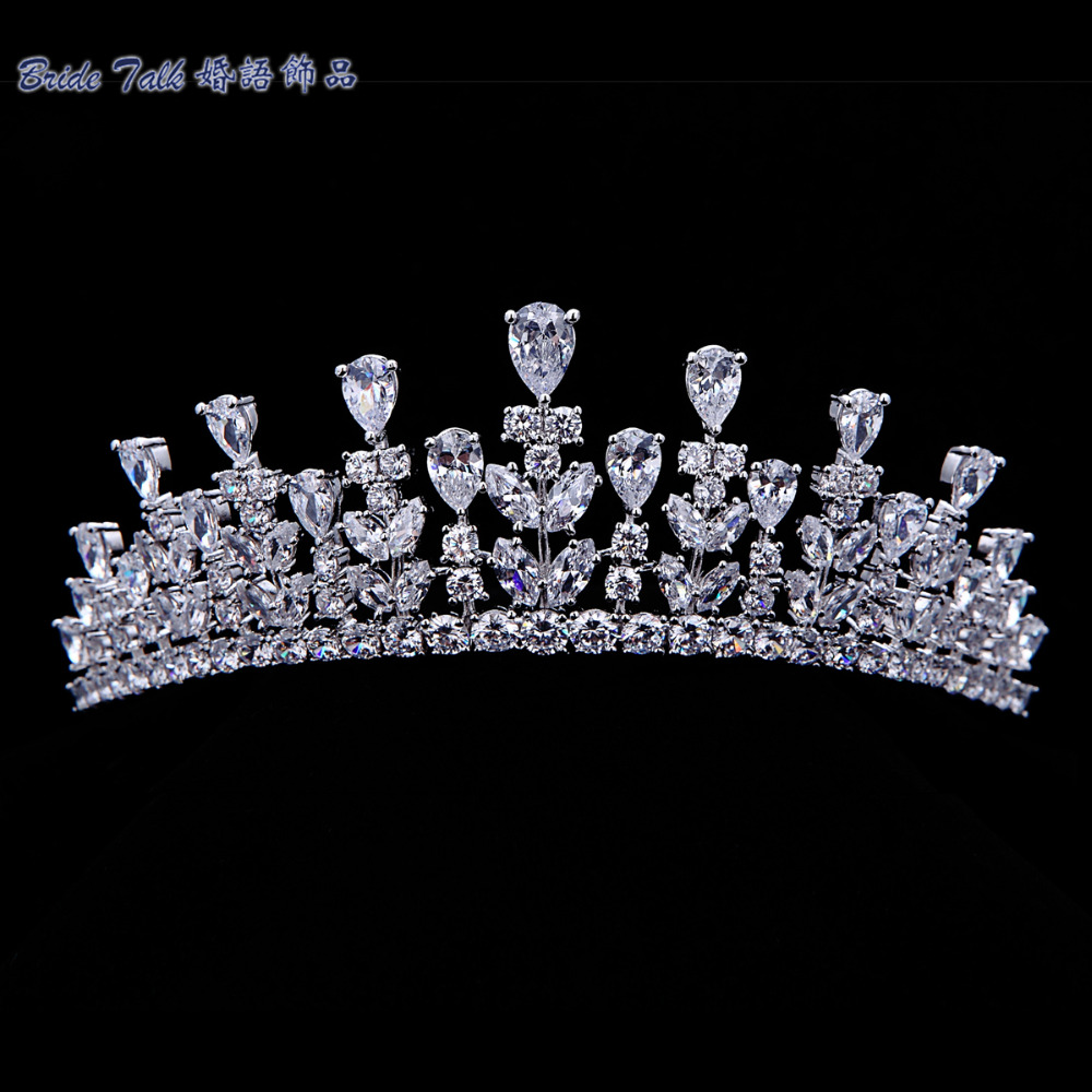 Full AAA CZ Tiara Crown Bridal Wedding Hair Jewelry Micro Pave Party Prom Hair Accessory Princess Queen Headband TR15013(China (Mainland))