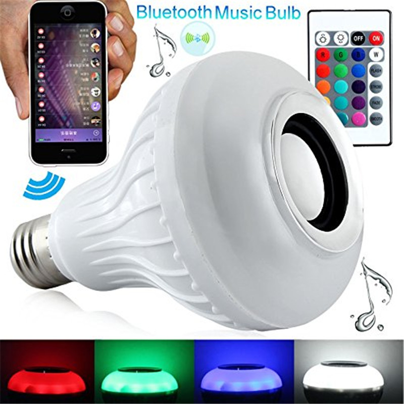 RGB Color LED Bulb Light 12W E27 Bluetooth Control Smart Colorful LED Bulb Bluetooth Speaker Music Audio Lamps 110V-240V(China (Mainland))