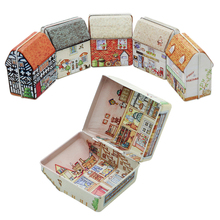 2016 New Retro High Quality Vintage House Shape Tea Box Container Candy Storage Tin Box Jewelry Gift Case Random Color(China (Mainland))