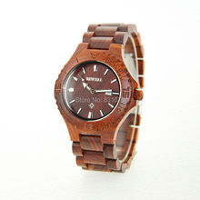 Free shipping 2014 Bewell Fashion Design Natural Rose Wooden Wrist watch For Man and Support Whholesale