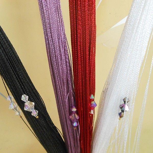 Romantique rideau d coratif string avec 3 perles porte fen tre panneau paravent dans cloisons - Rideau separateur de piece ...