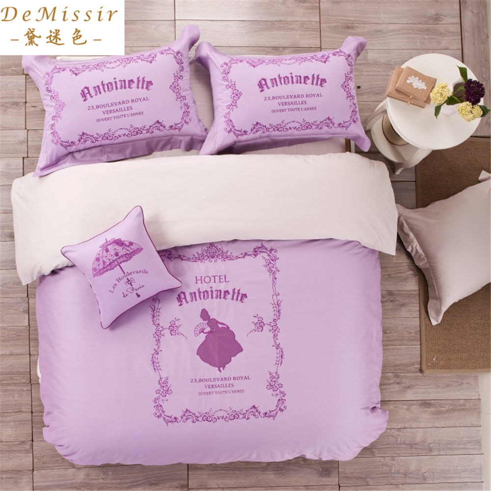 Girls purple bedding promotion shop for promotional girls for Housse de couette king size