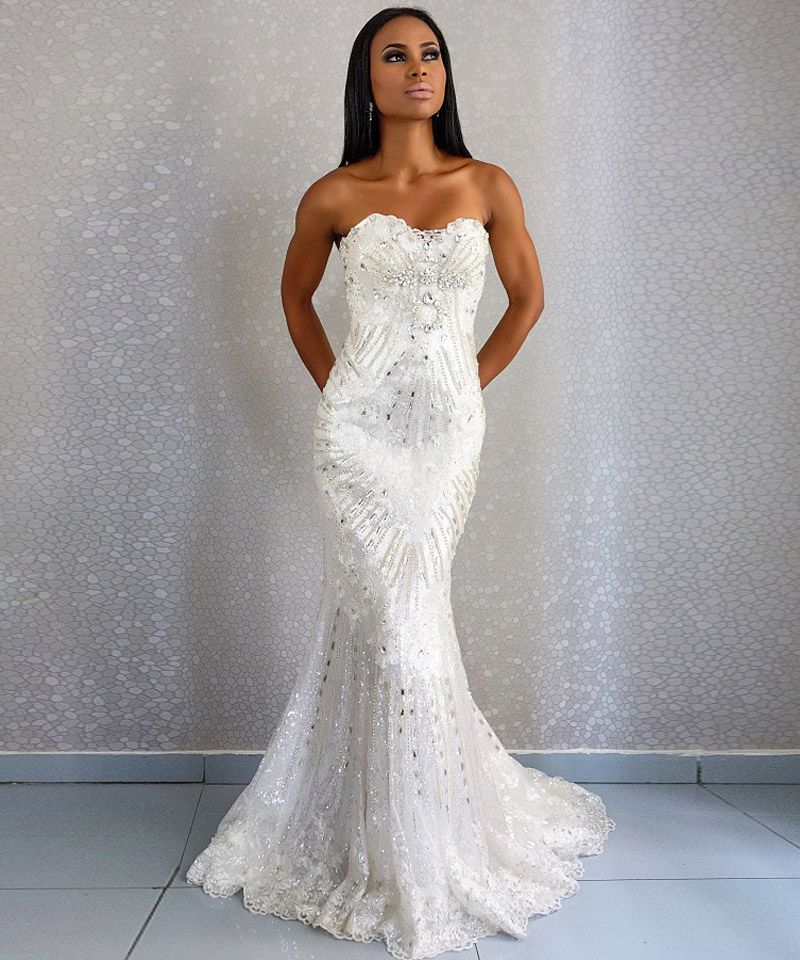 Elegant wedding dress lace crystal beading sweetheart for Wedding dresses with lace up back