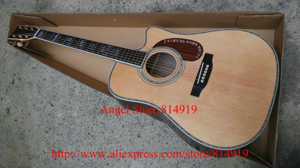 Customer Made LOGO Acoustic Guitar AAA top Solid Spruce Ebony Fingerboard / Ebony Bridge Mahogany pickguard Abalone inlay(China (Mainland))