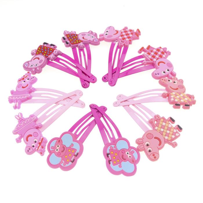 5Pairs 10pcs Peppa Pig Hairpins Cute Cartoon Girls Headwear Kids Hairclip Hair Accessories(China (Mainland))