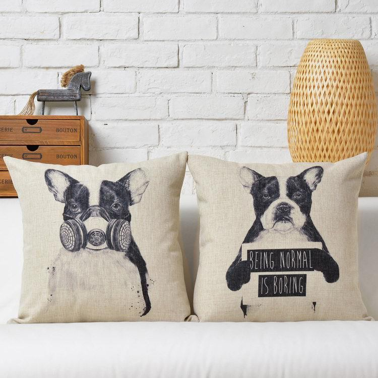 Creative   Cute black white dog Cartoon Linen Cotton Cushion Linen Pillow   home decorate sofa cushions
