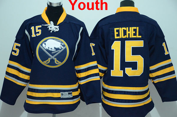 2016 New Youth/Kid's Buffalo Sabres #15 Jack Eichel Jersey Navy Blue home Hockey Ice Jerseys,100% Stitched,Top Quality(China (Mainland))