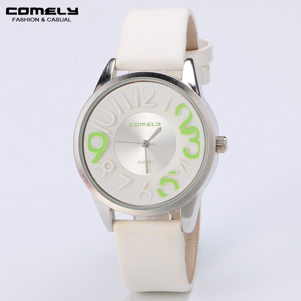 COMELY new Lady Classic color digital watches round dial leather strap women's casual fashion brand quartz watch student sports(China (Mainland))