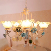 5 Lights,70CM,Mediterranean Sea,Pure handmade Ceramic flowers chandelier lamp,For Living room dining room bedroom,Bulb Included(China (Mainland))
