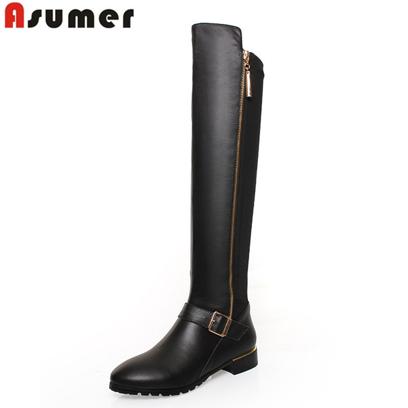 2016 new genuine leather boots zipper square heels