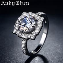 Andychen площадь посеребренная обручальные кольца ювелирные кольца для женщин бижутерии роковой обручальное Bague аксессуары ASR100(China (Mainland))