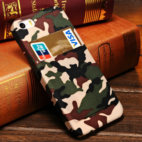 Camo Camouflage Skin PC Hard Case iPhone 5 5S Fashion Mobile Phone Back Cover Card Slot Colors - BOB Technology Co.,Ltd store