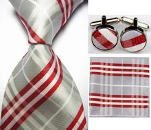 SNT0422 Gray Red Stripes New Ties Solid Plain Hanky Handkerchief Cufflinks Men s Business Casual Party