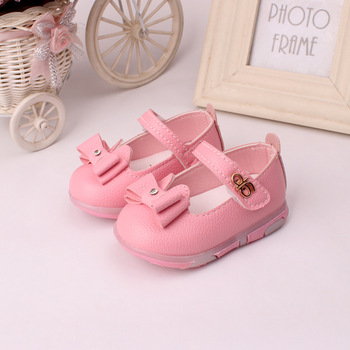 2016 children's shoes flash sweet bowknot princess female baby leather shoes, fashion comfortable non-slip princess baby shoes