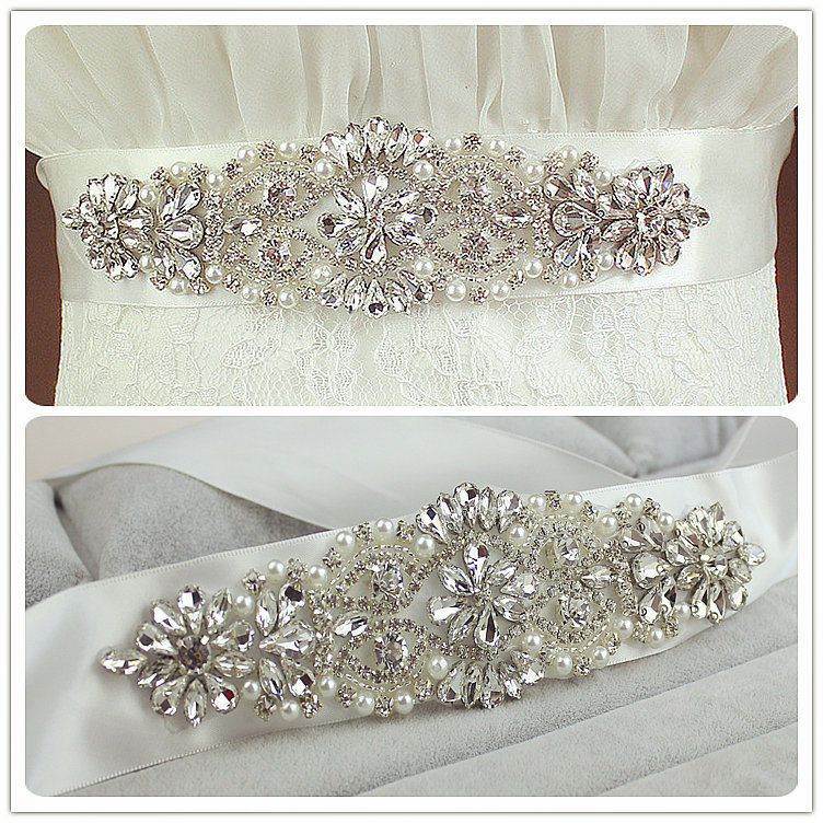 Real Satin Wedding Belt Crystal 6cm Wide Long Bridal Belts With Crystals Wholesale Wedding Sash