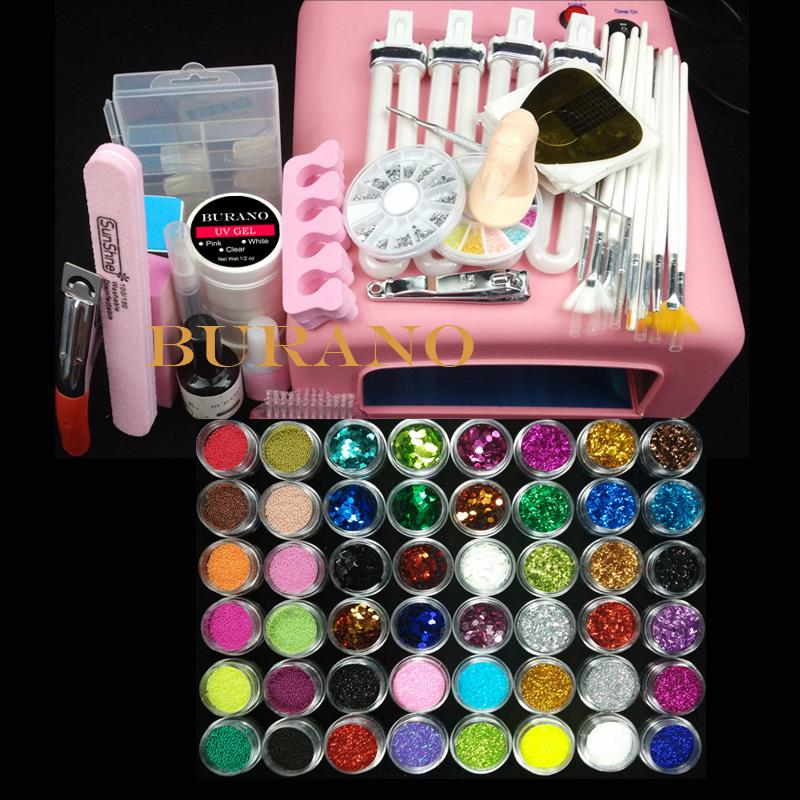 36w uv pink lamp manicure set Nail Art UV Gel Kits sets Tools Brush Tips Glue Acrylic Powder Set #004(China (Mainland))