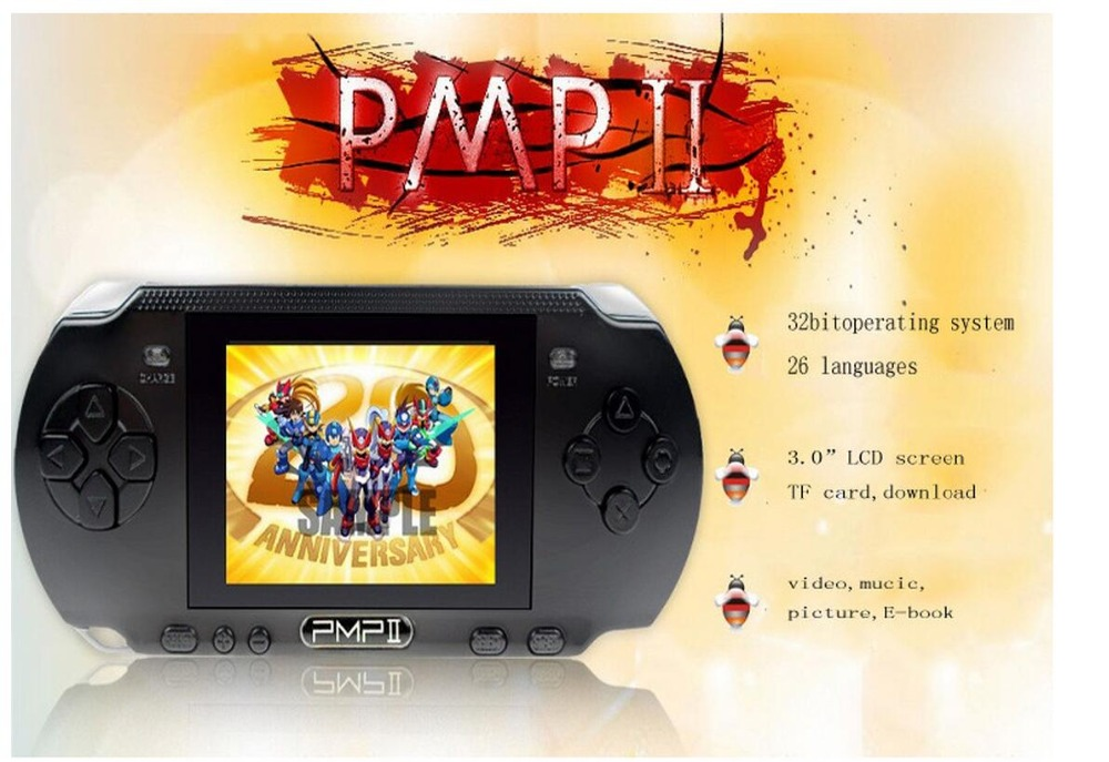 LCD Screen 3.0 inch PMP Handheld Game Console 32 Bit Portable Video Game Player with in-built 10000 Free Games Supports Download(China (Mainland))