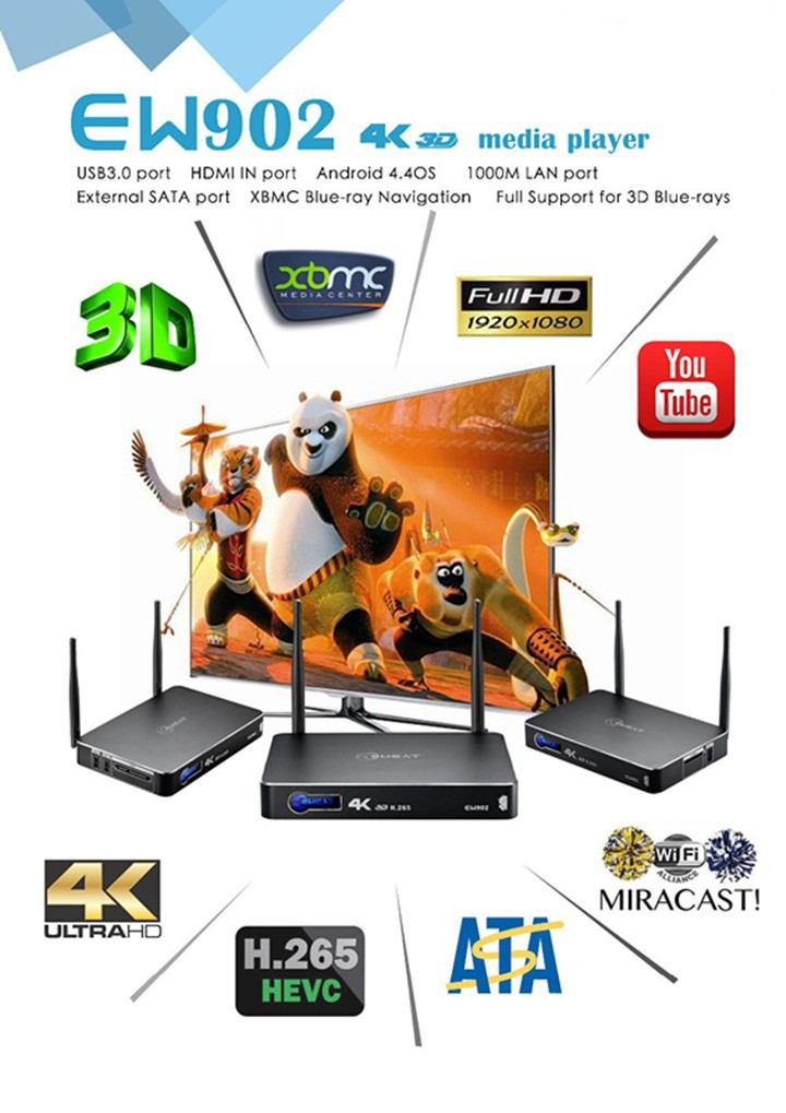 Blu - Ray проигрыватель Eweat EW902 android4.4 Realtek RTD1195 HD 3D Media Player 1G /8G HDmi & HDmi, USB 3.0 gigabit Ethernet h.265 BDMV/ISO TV Box
