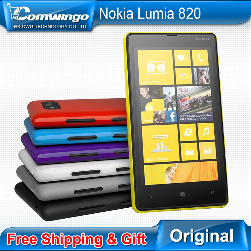 Original Unlocked Nokia Lumia 820 Refurbished 8MP Camera White Red Blue Yellow Black Free Gift Free shipping 1 year warranty(China (Mainland))