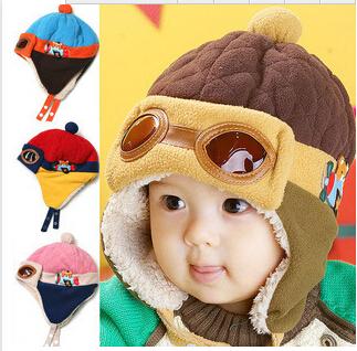 Hot Sale Toddlers Warm Cap Hat Beanie Cool Baby Boy Girl Kids Infant Winter Pilot Aviator Cap Free Shipping(China (Mainland))