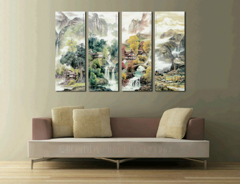 The ancient Chinese landscape landscape painting 4 Pieces modern picture Wall panel Home Decorative Canvas Prints(China (Mainland))