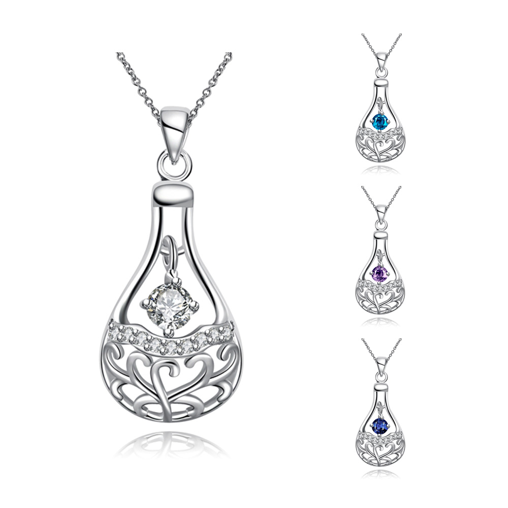 Silver Perfume Bottle Necklaces Feminino Collars Best Friends Elegant Cubic Zirconia Necklace Jewellery Ornamentation Spn086(China (Mainland))