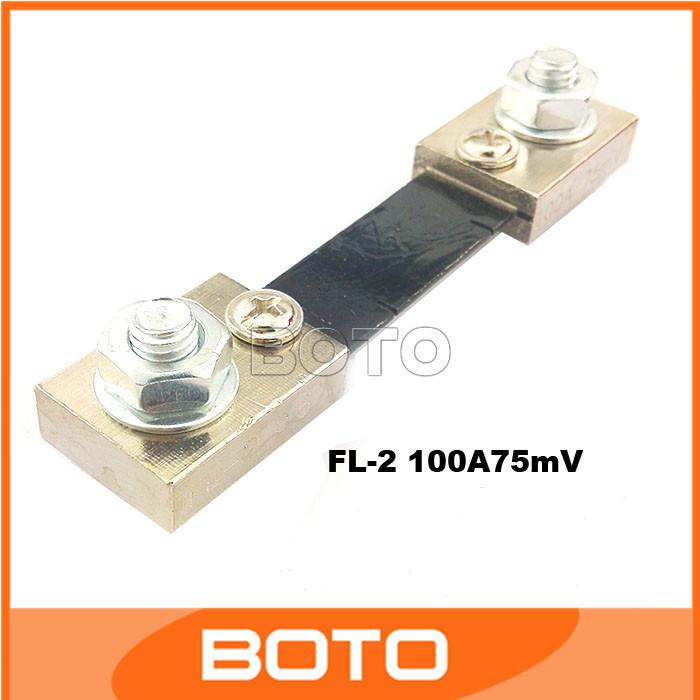 20pcs  DC FL-2 100A/75mV Ammeter/Ampere Shunt Resistor Monitor 0-100A Amp Panel Meter Shunt Currect Monitor For Ammeter #201091