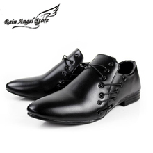 Men Shoes British Style Cross Strap White PU Leather Shoes Pointed Toe Black Wedding Shoes For Men sapatos masculinos