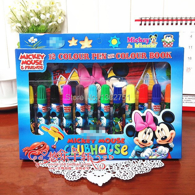 10sets/lot Children Minnie Mouse Color Books and 12 Color Pens Drawing Toys Kids Boys Girls Cartoon Paint Stationery Baby Gift(China (Mainland))