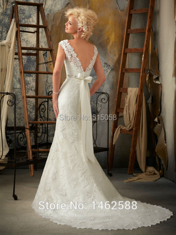 Boat neck cap sleeves open back mermaid wedding dress for Vintage mermaid style wedding dresses