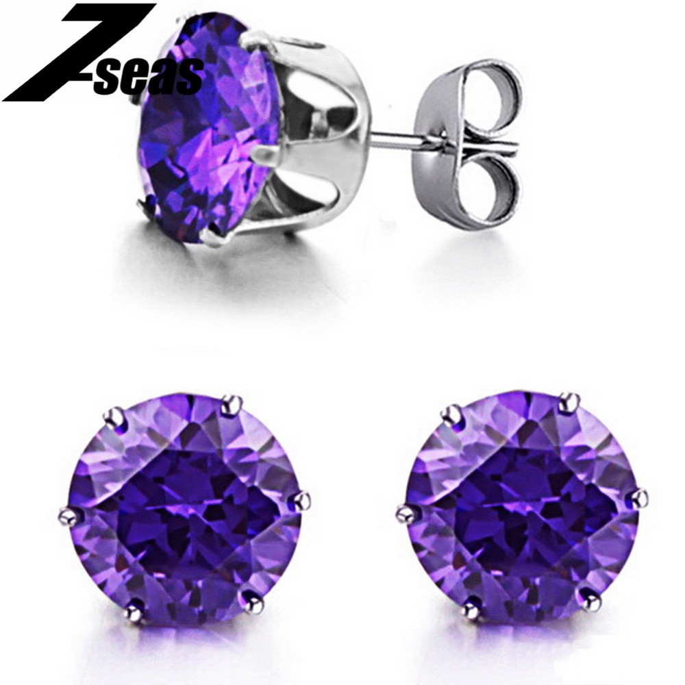 Wholesale Jewelry Fashion Trendy Mysterious Purple Stud Earring with Shining CZ Diamond for Lady Women Discount 218(China (Mainland))