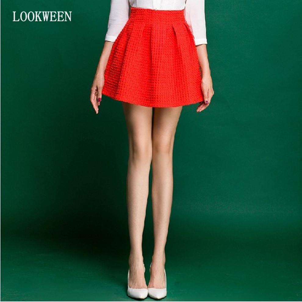2016 Fashion Red Short Skirts Women Girls Black Elastic High Waist Line - LOOKWEEN store
