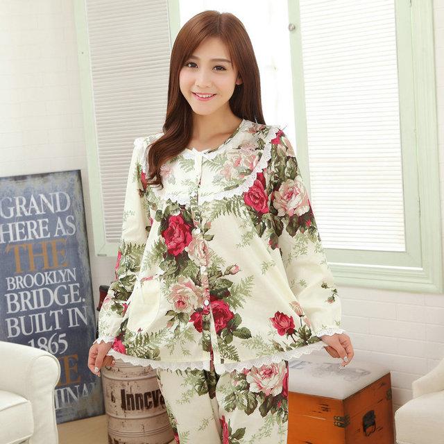 Весенние цветы бежевый пижамы установить 100% женская ткань хлопок пижамы с длинными ...