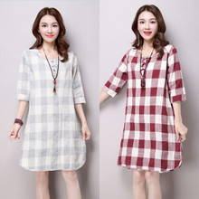 2016 Summer New Maternity Dress Half Sleeve Plaid Maternity Clothes for Pregnant Women A-Line Fashion Pregnancy Clothing M-XXL